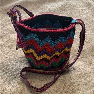 Boho. Rainbow 🌈 colourful shoulder bucket bag.